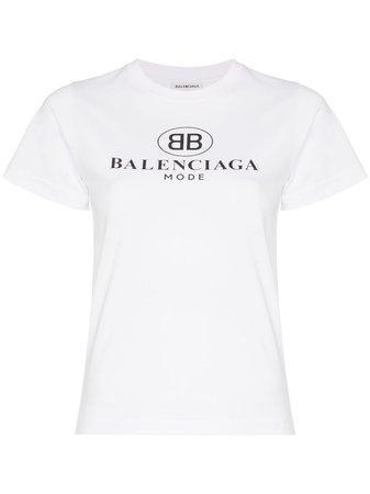 Balenciaga Short-sleeve Cotton Logo Tee | Farfetch.com