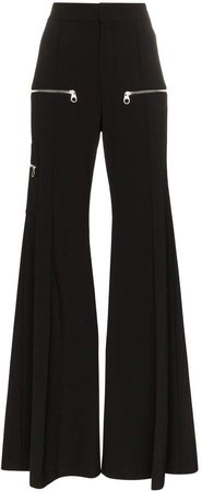 zip detail flared trousers