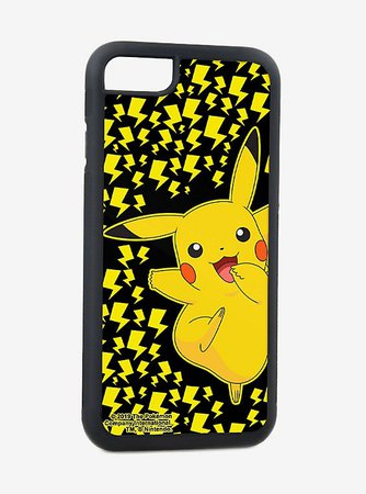Pokemon Pikachu Happy Skipping Pose Lightning Bolts Black iPhone XS Rubber Cell Phone Case