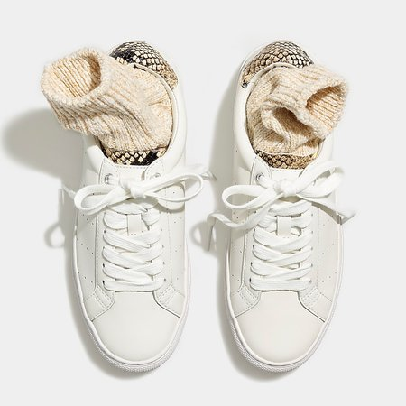 white J.Crew: Saturday Sneakers With Snake-print Leather Detail For Women