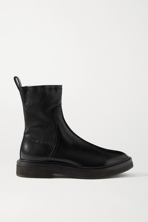 Bead-embellished Leather Ankle Boots - Black