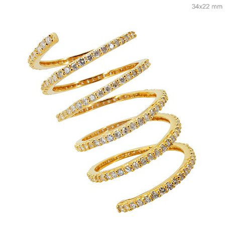 Diamond Pave Full Finger Solid 18 K Yellow Gold Spiral Ring Fine Wrap Jewelry $5,522.58