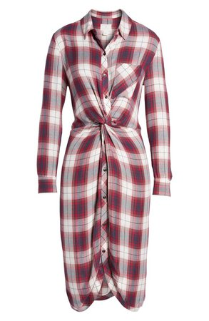 Caslon® Twist Front Plaid Shirtdress (Regular & Petite) | Nordstrom