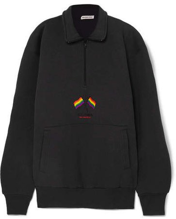 Oversized Embroidered Cotton-blend Jersey Sweatshirt - Black