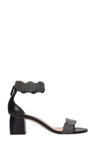Julie Dee Black Leather Sandals