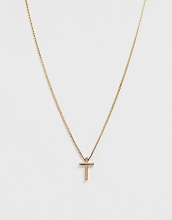 ASOS DESIGN necklace with ditsy cross in gold tone   ASOS