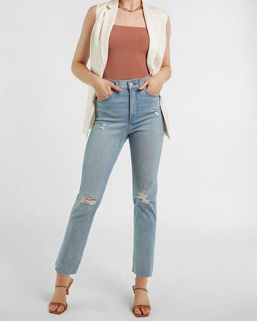 Super High Waisted Supersoft Ripped Raw Hem Slim Jeans