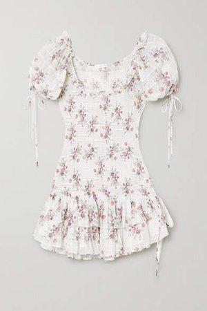 Aerin Violet Floral-print Shirred Cotton-voile Mini Dress - White