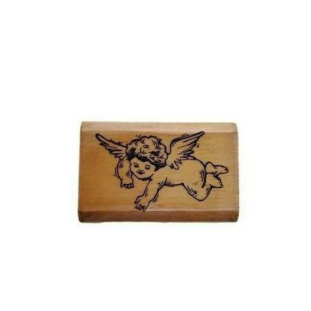 Fun Stamps Cherub Angel Wings Baby 1989 J60 Wooden Rubber Stamp - Stamps