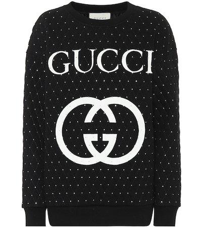 Embellished cotton sweater
