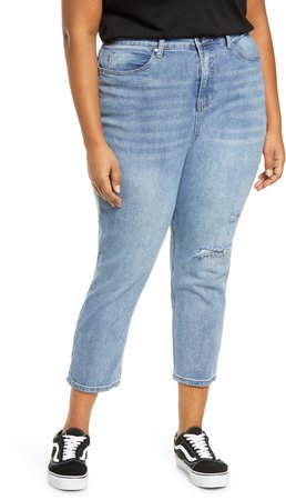 High Waist Distressed Straight Leg Jeans