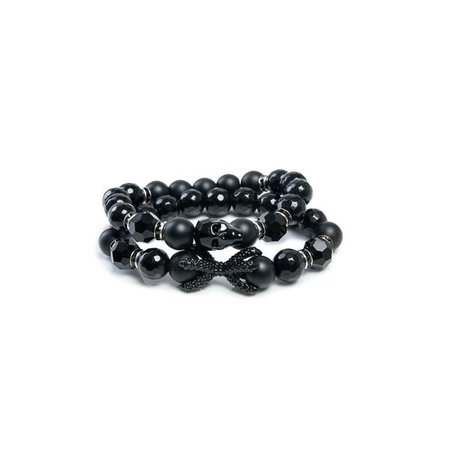 Bracelets | Shop Women's Black Silver Round Bracelet at Fashiontage | 8#434
