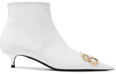 Knife Logo-embellished Patent-leather Ankle Boots - White