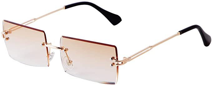 Amazon.com: SORVINO Vintage Rectangle Sunglasses for Women Small Rimless Candy Color Glasses Gradient Brown Lens: Clothing