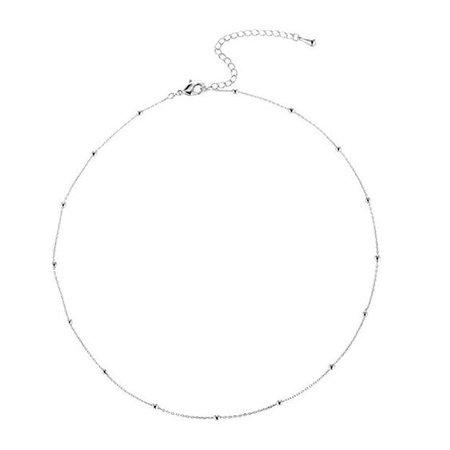 YIYIPRINCESS Simple Beaded Ball Chain Choker Thin Bead Ball Necklace Layering Chokers (Silver Choker)
