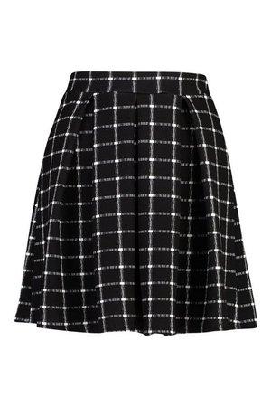 Sketchy Grid Check Box Pleat Skater Skirt | boohoo blue