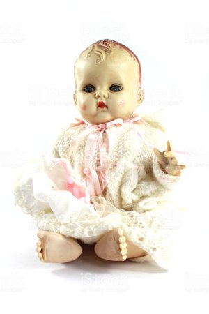 Vintage-antique-doll-on-white-background-picture-id992866272