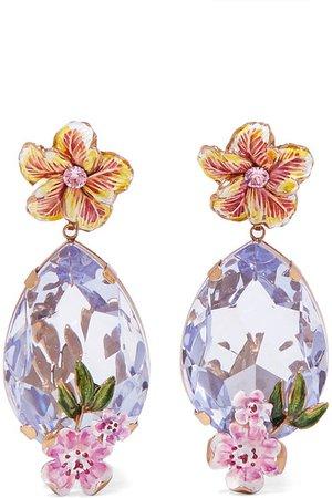Dolce & Gabbana | Gold-tone, enamel and crystal clip earrings | NET-A-PORTER.COM