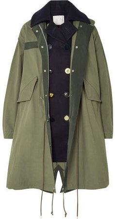 Layered Wool And Cotton-blend Twill Coat - Army green