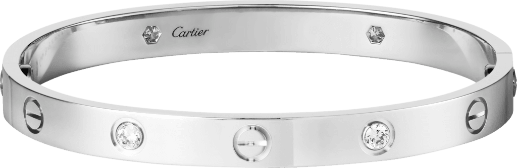 CRB6035817 - LOVE bracelet, 4 diamonds - White gold, diamonds - Cartier