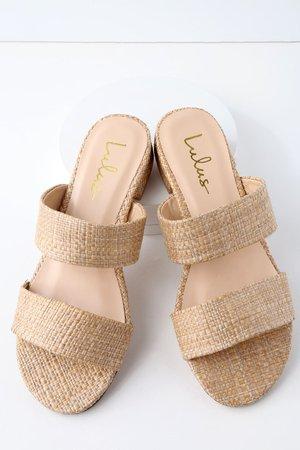 Cute Woven Sandals - Natural Sandals - Slide Sandals