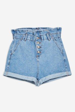 Stripe Denim Paperbag Shorts   Topshop