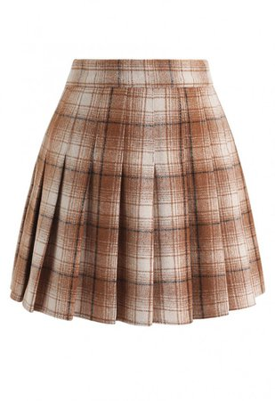 Plaid Pleated Wool-Blend Mini Skorts in Tan - Skirt - BOTTOMS - Retro, Indie and Unique Fashion