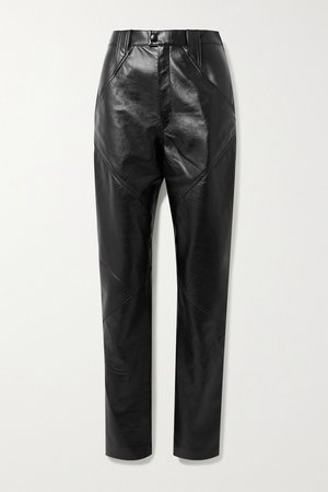 Black Xenia leather tapered pants | Isabel Marant | NET-A-PORTER