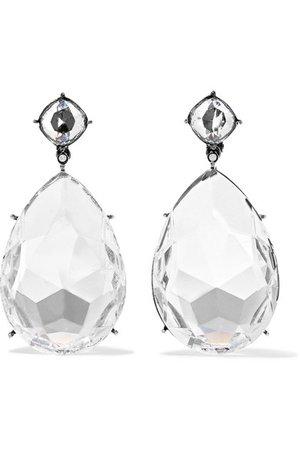 Alexander McQueen   Gunmetal-tone crystal clip earrings   NET-A-PORTER.COM