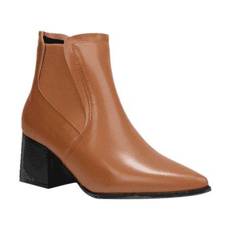 Chunky Heel Pointy Toe Boots