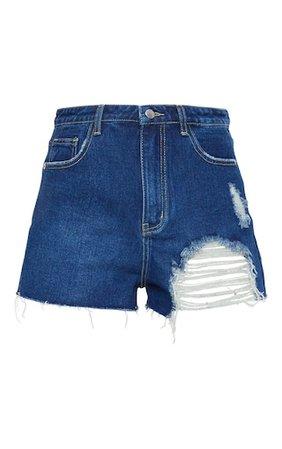 Plt Dark Blue Wash Distressed Denim Mom Shorts | PrettyLittleThing