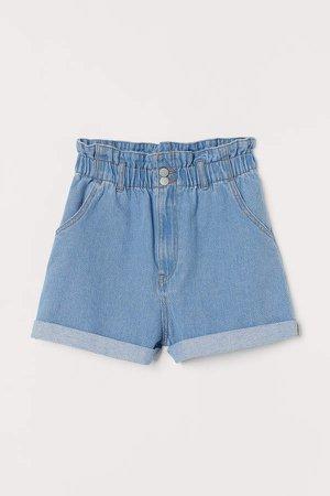 High Waist Denim Shorts - Blue