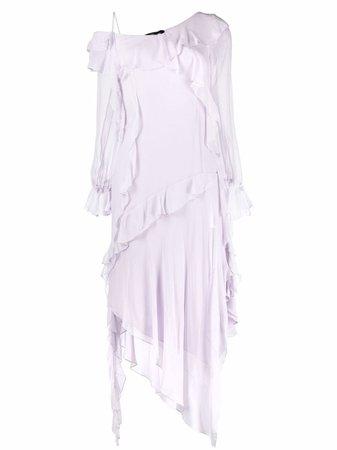 Shop Blumarine ruffle-detail asymmetric dress with Express Delivery - FARFETCH