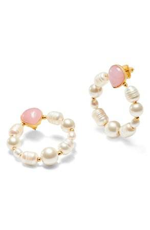 kate spade new york freshwater pearl & jade hoop earrings | Nordstrom
