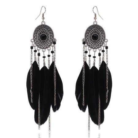 Oval Feather Chain Earrings