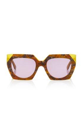 Ganni Square-Frame Acetate Sunglasses