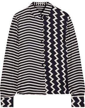 Wilson Paneled Striped Silk-satin Jacquard Shirt