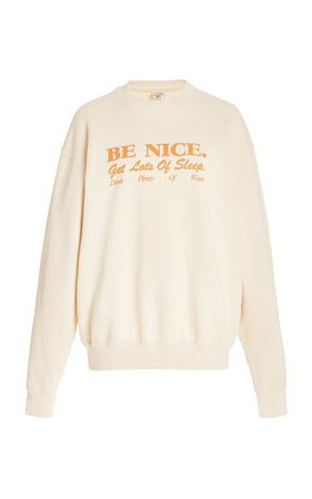 Be Nice Cotton Sweatshirt By Sporty & Rich | Moda Operandi