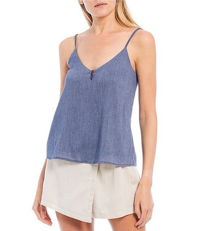 Evolutionary V-Neck Button Detail Chambray Tank Top | Dillard's