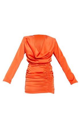 Orange Satin Cowl Neck Shoulder Pad Bodycon Dress | PrettyLittleThing USA
