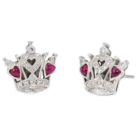 Queen of Hearts Diamond Ruby Stud Earrings Estate 18 Karat White Gold : Sophie Jane   Ruby Lane