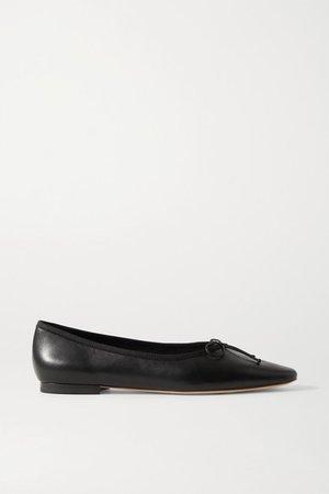 Georgie Leather Ballet Flats - Black