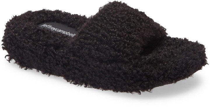 Goodnight Faux Shearling Slide Sandal