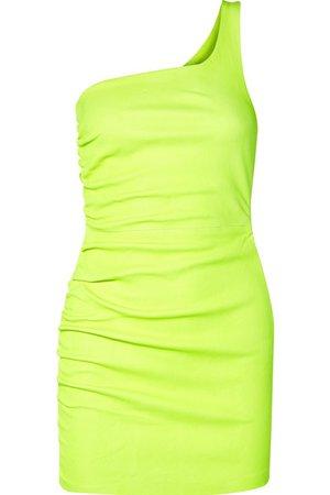SPRWMN | One-shoulder ruched neon leather mini dress | NET-A-PORTER.COM