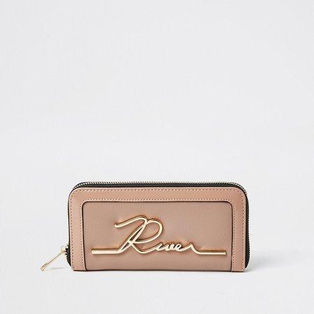 Beige RI zip around purse | River Island