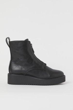 Wedge-heel Boots - Black