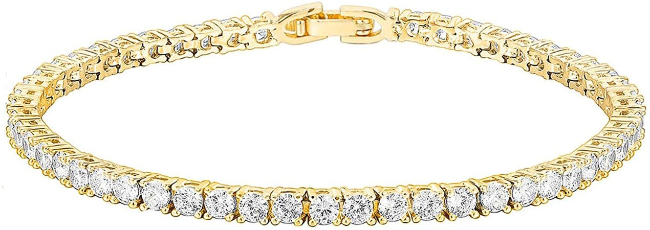Amazon.com: PAVOI 14K Gold Plated Cubic Zirconia Classic Tennis Bracelet | Yellow Gold Bracelets for Women | 7.5 Inches: Clothing