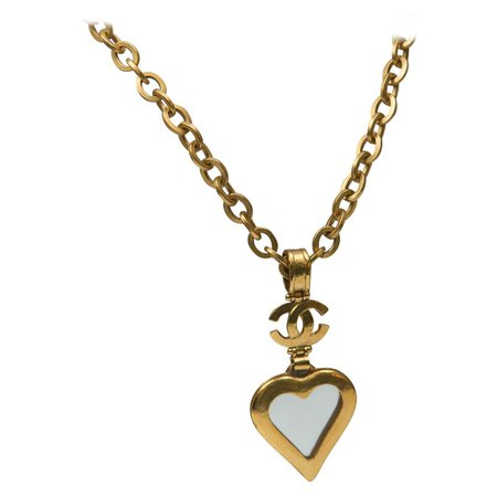Necklace Chanel CC Large Heart Shape Mirror For Sale at 1stDibs