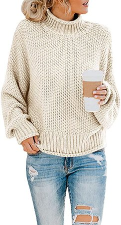 Saodimallsu Womens Turtleneck Oversized Sweaters Batwing Long Sleeve Pullover Loose Chunky Knit Jumper at Amazon Women's Clothing store