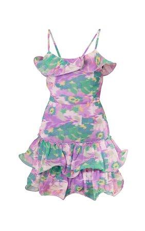 Lilac Floral Print Chiffon Frill Hem Bodycon Dress   PrettyLittleThing USA